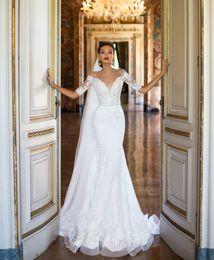 Wholesale Delicate Mermaid V Neck - elegant lace short sleeves mermaid wedding dresses 2017 Milla Nova bridal gowns deep v neckline delicate belt on the waist