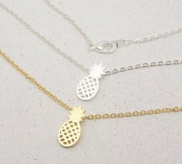 Wholesale Fruit Pendants - Wholesale-2016 New Arrival Gold and Silver Dainty Pineapple Pendant Necklace for Women Party Gift Cute Fruit Necklace N183