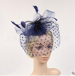 Wholesale Gauze Veil - Married bridal veil floral hat headdress wedding party feast catwalk stage flower gauze feather covered face head ornaments five colors
