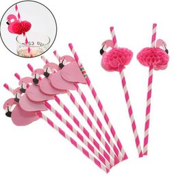 Wholesale Straws Wedding Drinking - Flamingo Paper Straws Disposable Honeycomb Suckers Cartoon Bird Straw Stripe Paper Sucker for Drinking Cocktail Juice Party Wedding Decor