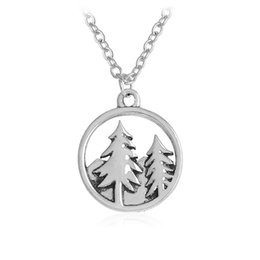 Wholesale P Charms - 2017 New Fashion Mountain Forest Christmas Tree Pendant Charm Necklace Sisters Girls Kids Family Gift EFN007-P