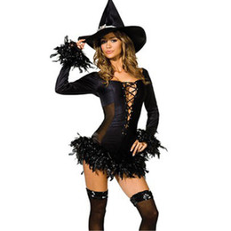 Wholesale Dress Halloween Women Adults - 2017 Sexy Black Witch Costume Fashion Fancy Dress Adult sexy Halloween Costume Cosplay Hat Party Costume For Women