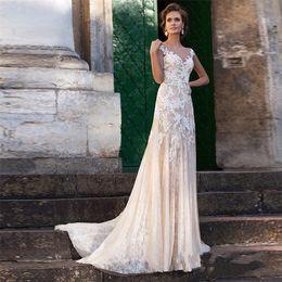 Vestidos de noiva vintage on-line-Vestido de noiva de renda 2019 ilusão decote apliques vestidos de noiva Vintage Robe De Mariage bainha vestidos de casamento Sheer voltar vestido