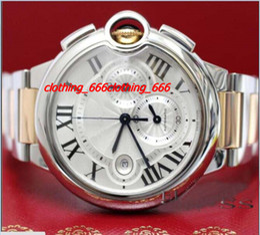 Wholesale Chrono Steel Pink - Fatory New Fashion Watch BRAND NEW 44MM 2-Tone Pink Gold Steel Chrono Watch W6920075 Watch With BOX Men's Watches MAN Wristwatch