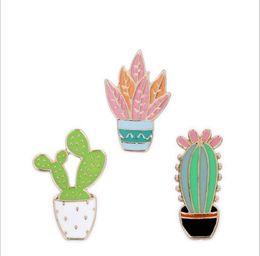 Wholesale Costume Jewellery Sets Wholesale - wholesale 3pcs  set costume jewellery bag jean hat accessories metal enamel plant cactus pin collar brooch button badge
