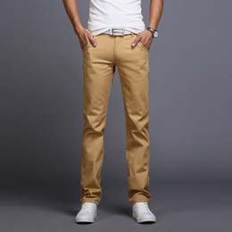 Брюки мужские повседневные брюки chinos онлайн-Wholesale-2016 New Men Business Casual Slim Pants Mid-Waist Trousers Fashion Mens Straight Cargo Pants Chinos Brand Clothing Homme B086