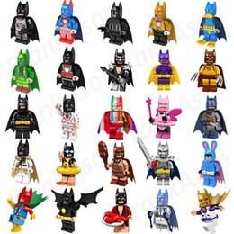 Wholesale Men Built - 25pcs lot Bat Movie Figures Super Heroes Minifig Bat Man Super Hero Rainbow Bat Mini Building Blocks Figure Toys