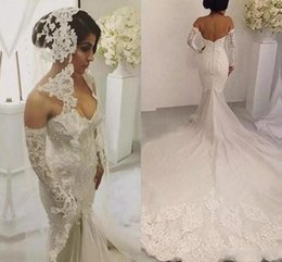 Wholesale Fabulous Dresses - Fabulous Off The Shoulder Mermaid Wedding Dresses Beaded Pearls Long Sleeves Wedding Dress Mermaid Style Chapel Train Long Bridal Gowns