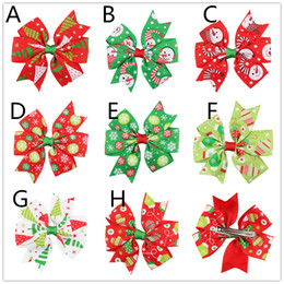 Wholesale Snowman Snowflakes - 8colors Girls Christmas Grosgrain Ribbon bow hairpins snowman snowflake printing ribbon bow hair clips kids Xmas Barrette hair accessory