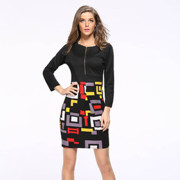 Wholesale Women Office Cloth - Wholesale- Vintage Summer Dress Zipper Office 2016 Vestidos De Festa Pencil Women Clothing Sexy Bodycon Patchwork Cloth Robe Party Dresses