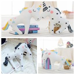 Wholesale Toy 3d Horse - Cute 3D Unicorn Shape Cushion Throw Pillow 38*30cm Cartoon Sofa Unicorn Horse Plush Toys Baby Sleep Pillow 100pcs OOA3432