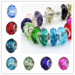 Wholesale Faceted Necklace - 17 Colors 925 Silver Beads Screw Fascinating Faceted Murano Glass Beads Fit European Jewelry Charm Bracelets & Necklaces