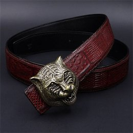 Wholesale Girls Tiger Head - Mens Belts Luxury 3D Tiger Head heavy metal Belt Buckle Genuine Leather Men Belt western Cowboy punk rock style Jeans Ceinture Cinturones