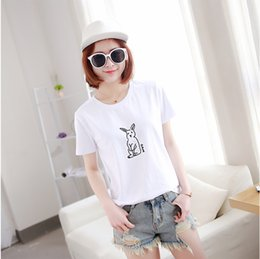 Wholesale Embroidered T Shirt Woman - Cute rabbit embroidered Women short t shirts white and taro powder new fashion cotton t-shirts hot sell