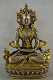 Wholesale Asian Statues - christmas decorations for home+ Asian Antiques China Old Collectible Handwork Miao Silver Plating Gold Carving Buddha Statue