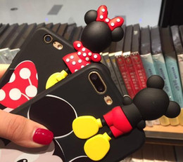 Wholesale Shell Smart Phone - 3D Cartoon cute Mickey Minnie Ears Soft silicone TPU Rubber Back Case Cover shell For smart Phone