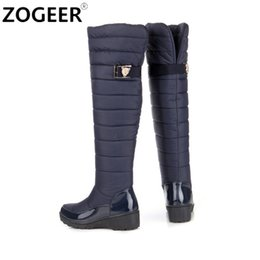 Wholesale Wedge Snow Boots For Women - Wholesale- Plus size 34-44 Women Boots 2016 Winter Ladies Down Plush Snow Boots Fashion Wedge Low Heeled Knee High Warm Shoes For Woman