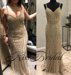 Wholesale Spaghetti Strap Nude Sequin Dress - Real Image 2017 Evening Dresses Bling Beads Formal Sheath Prom Gowns Summer Beach African Spaghetti Straps Sweep Train Dress
