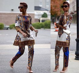 Wholesale Printed Jumpsuit Women - 2016 New African fashion design dress Suits Women Traditional Print Dashiki National Half-Sleeved Two Pieces Set Jumpsuits S-XXXL Big Size