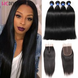 Wholesale Unprocessed Malaysian Hair - Brazilian Virgin Straight With Closure Unprocessed Brazilian Straight Hair 4 Bundles With Closure Brazilian Human Hair Weave HCDIVA