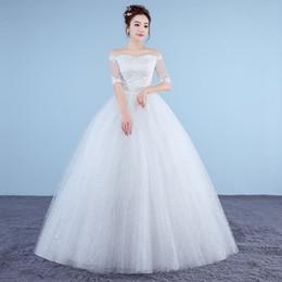 Wholesale Dress Handmade China - Vestido De Noiva 2017 New Style Half Sleeve Handmade Embroidery Luxury Wedding Dress Boat Neck Stain China Bridal Gowns