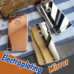 Wholesale Wholesale Clear Iphone Bumpers - Mirror Electroplating Case Soft Clear TPU Shock-Absorption Bumper Protective Cover For iPhone 7 Plus 6 6S SE 5S 5 4S 4 Samsung S8 S7 Edge