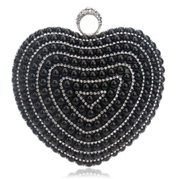Wholesale Diamond Pearl Ring Designs - Finger Ring Diamonds Heart Design Purse Evening Bags Gold Silver Black Imitation Pearl Wedding Bags With Chain Shoulder bag