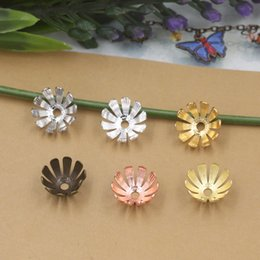 Wholesale 5mm Flower Beads - 07333 13*5mm antique bronze silver rose gold gun black filigree flower bead caps, diy metal Jewelry making Findings & Components accessories