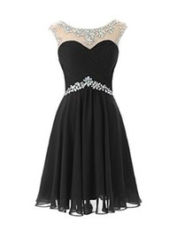 Wholesale Short Chiffon Beaded Cocktail Dress - Sexy Beaded Black Chiffon Short Homecoming Party Dresses 2017 Cute Sheer Neck Crystal Cocktail Prom Dresses
