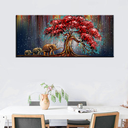 Wholesale Painted Wall Red - Oil Painting High Quality Elephant Pray Artistic Painting Western Red Tree Leaves Abstraction Paintings Home Wall Art Decoration 2 Sizes