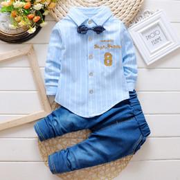 Wholesale Baby Boy Jeans Months - Wholesale- 2016 Baby Boys Suit Shirt T-shirt + jeans 2pcs   set striped cardigan bow tie fashion denim suit alphanumeric 8 Kids clothes