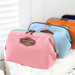 Wholesale Cute Denim Bags - South Korean multi-function fashion cotton cosmetic bags Portable cute denim wash gargle bag steel makeup bag
