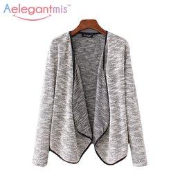 Wholesale Grey Knit Cardigan Women - Wholesale- Special Offer Aelegantmis Casual Grey Cardigan Sweaters Women Spring Autumn Fashion Turn-down Collar Knitted Sweater Ladies