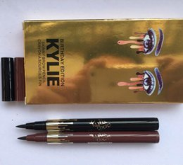 Wholesale Birthday Pencils - 2017 Newest Kylie Birthday Edition Gold Liquid Eyeliner Leo waterproof Black Makeup Beauty Eye Liner Pencil Drop Shipping