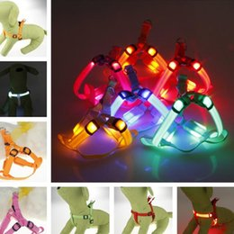 Wholesale Nylon Dog Leash Harness - Led Dog Harness Safety Dog Pet Belt Harness Glow Flashing Light Collar Pet Belt Harness Leash Tether Dog Supplies Leashes Pet Light