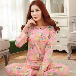 Wholesale Sets Girl S Pink Flower - Wholesale- Discount New 2016 Autumn Winter Women Pajama Sets Print Flowers Pink Girls Sleepwear Pajamas Ladies Homewear For Women Nightgown