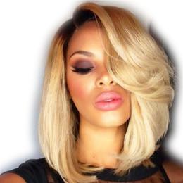 Wholesale Blonde Straight Bangs Wig - Brazilian Virgin Human Hair Short Ombre Full Lace Wig Glueless Bob Straight Blonde Full Lace Wig With Bangs For Black Women