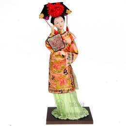 Wholesale Chinese Female Doll - The Qing Dynasty Chinese genuine people ladies Princess Doll 12 Inch Doll ornaments Qing palace silk crafts