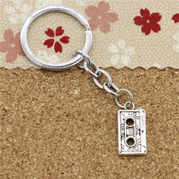 Wholesale Diameter Tape - 15pcs Fashion Diameter 30mm Metal Key Ring Key Chain Jewelry Antique Silver Plated retro 80's cassette tape 23*12mm Pendant