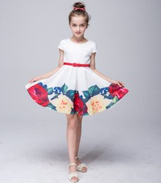 Wholesale Satin Chinese Style Dress - Princess Dress One-piece Floral Cap Sleeve Waistband Kids Skirts Fashion Party Dress Performance Cloth 2-8 Years LG-909