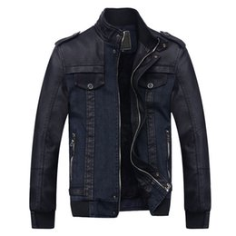 Wholesale Designer Motorcycle Jackets Men - Wholesale- Designer Winter Male Velvet Denim Jacket Mens PU Leather Motorcycle Parka Men Slim Fit Casual Fashion Mens Blazer Jackets S2267