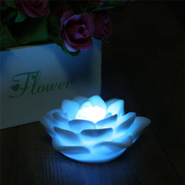 Wholesale Color Changing Mood Led Lights - Romantic Lotus Flower Night light Color Changing Lotus Flower LED Night Light Romantic Love Mood Lamp Decoration Free Shipping
