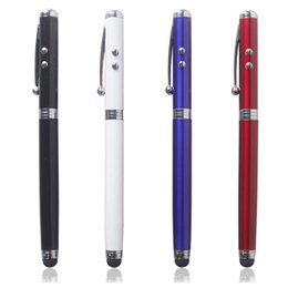 Wholesale Torch Touch - 4 in 1 Multifunctional LED Laser Pointer Torch Touch Screen Stylus Ball Pen Hot Sale 100pcs lot Free DHL