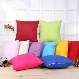 Wholesale Decorative Cushions Pillow Cover Case - Plain Throw Pillow Cushion Covers Polyester Pillow Case Cover Pillowcases Decorative Sofa Car Home Decor Candy Color 45*45cm White Blue Pink