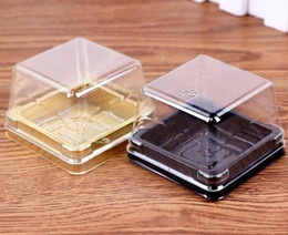 Wholesale Mooncake Package - 1000sets lot, Plastic Cake Box Single Individual Cake Boxes golden or blackBottom Plastic Mooncake Pvc Boxes Food Gift Packaging,6.5*6.5*4.5