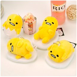 Wholesale Egg Keychain - Hot Sale 20pcs Lot 4 Style 10X7CM Lazy Egg Gudetama Keychain Plush Doll Stuffed Toy plush Animals Pendant For Baby Gifts