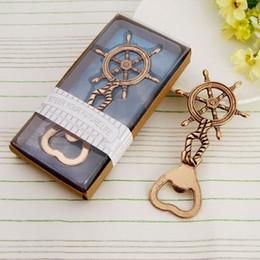 Wholesale Nautical Wheels - Antique ship's wheel nautical bottle opener Golden rudder beer bottle opener Wedding favors gift party decoration S201764