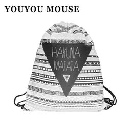 Wholesale Mouse Backpack - Wholesale- YOUYOU MOUSE Preppy Style Shoulders Bag Canvas Breathable Wear String Open Backpack Geometric Pattern Fashion Girls Woman Backpa