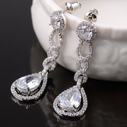 Wholesale Rhinestone Chandelier Wedding Earrings - Vintage Crystal Bridal Earrings Long Silver Dangle Wedding Earrings Bridal Jewelry Cubic Zirconia Chandelier Earrings Bridal Accessories