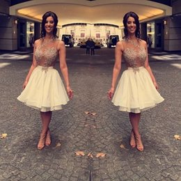 Wholesale Nude Color Sheer Sequin Dresses - 2017 White Graduation Dresses Jewel Nude Sleeveless Ball Gown Mini Lace Backless Sexy Bling Homecoming Gowns Plus SIze Short Prom Gowns